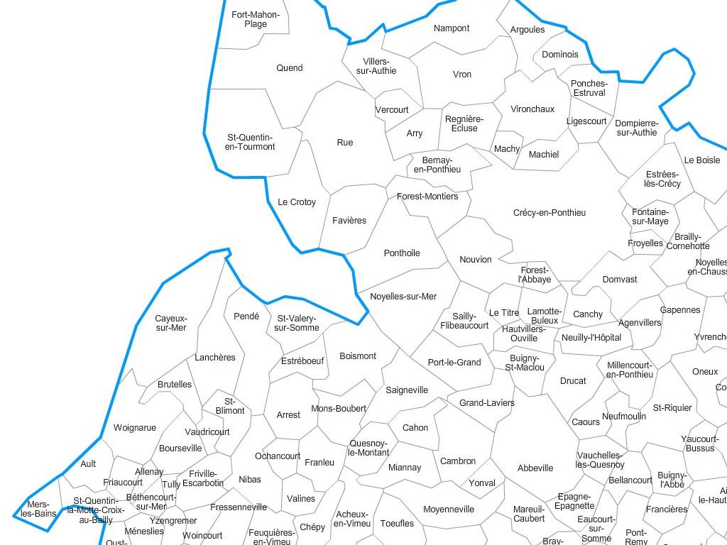 Carte personnalisable des villes et communes de la Somme