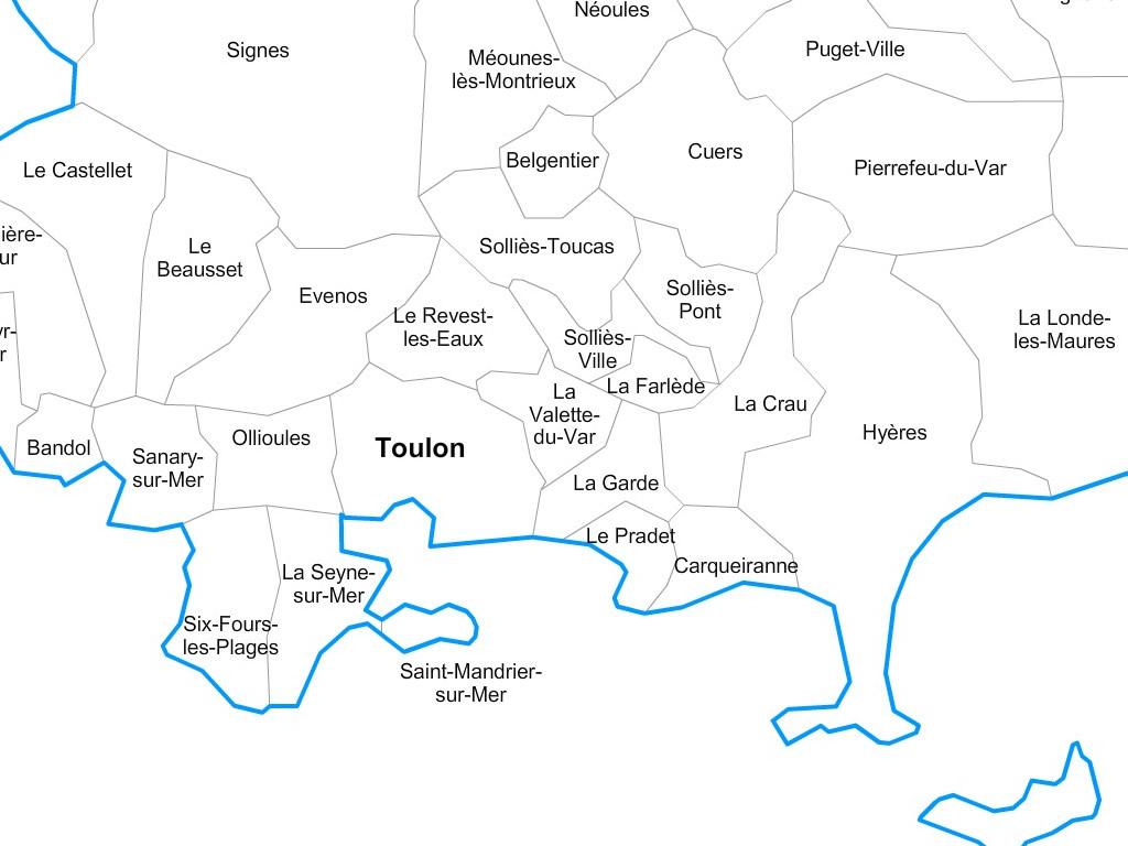 Carte personnalisable des villes et communes du Var