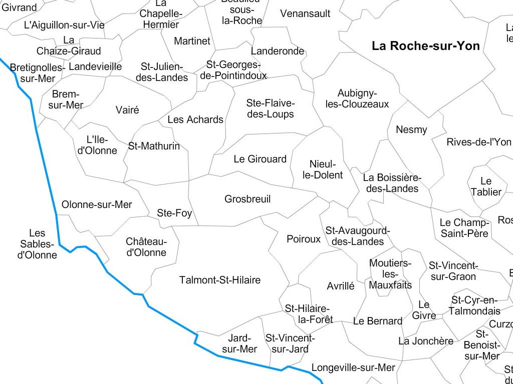 Carte personnalisable des villes et communes de la Vendée