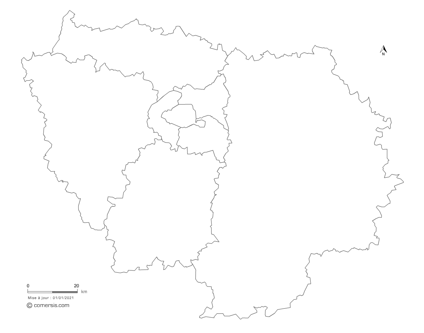 carte vectorielle d' Île-de-France