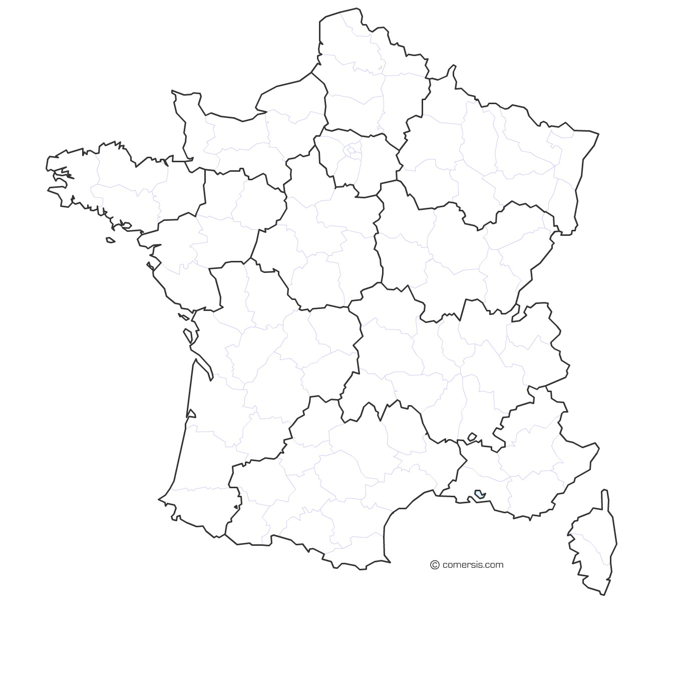 carte de france vierge régions Carte de France gratuite