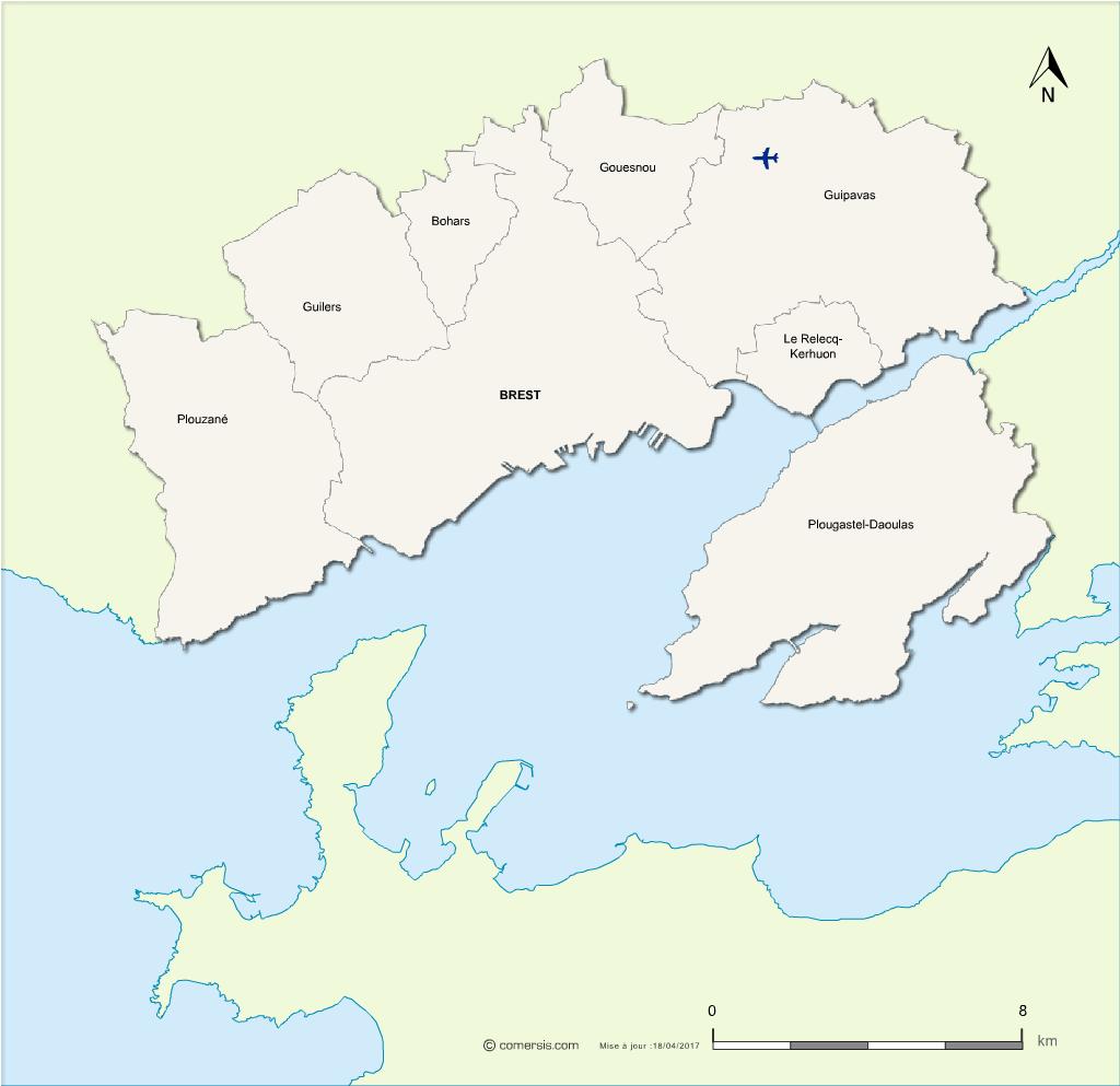 Carte de la métropole de Brest