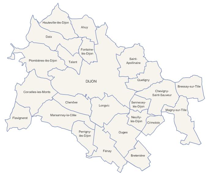 Carte de la métropole de Dijon