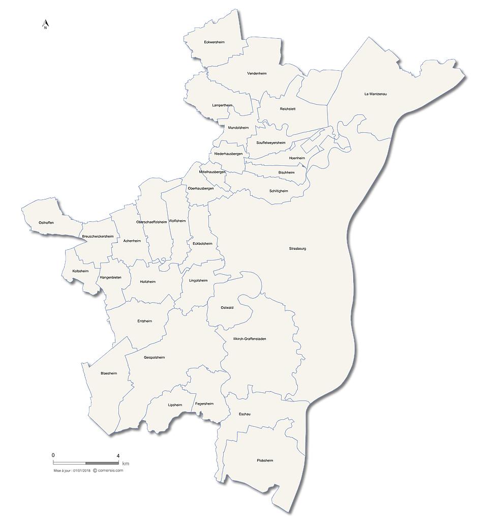carte de la métropole de Strasbourg
