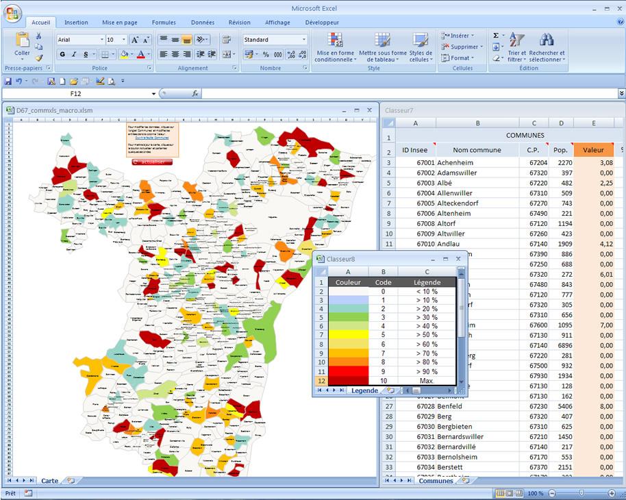 carte Excel vba communes du Bas-Rhin