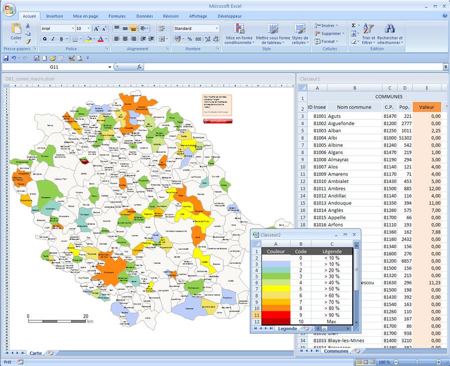 Carte Excel interactive des villes et communes du Tarn