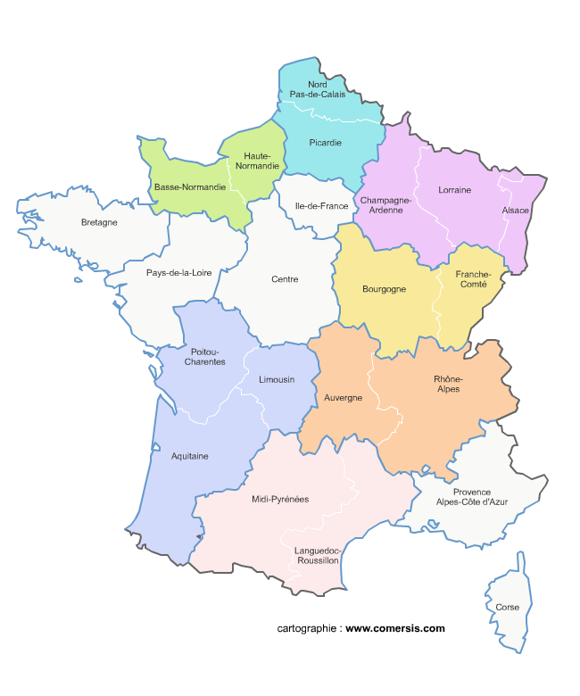 carte de france par region et ville