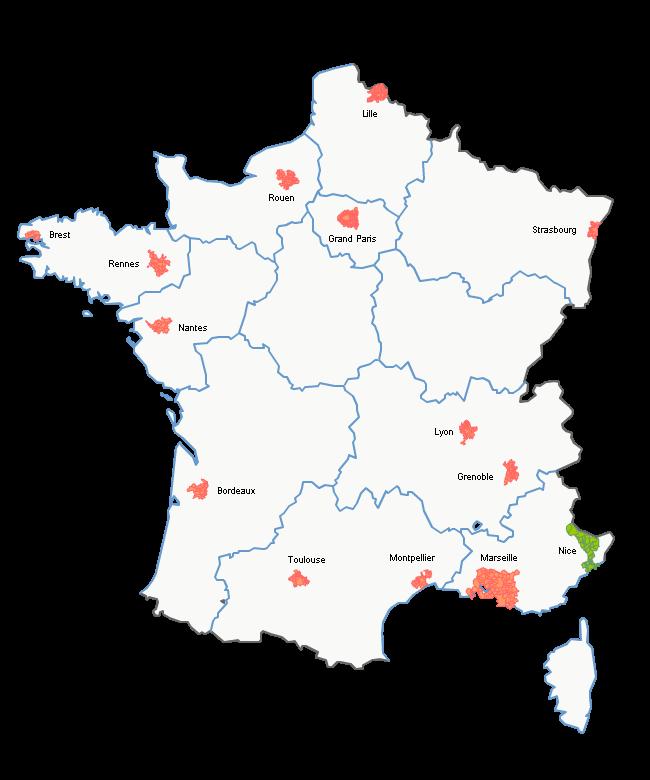 Les 13 régions et les métropoles