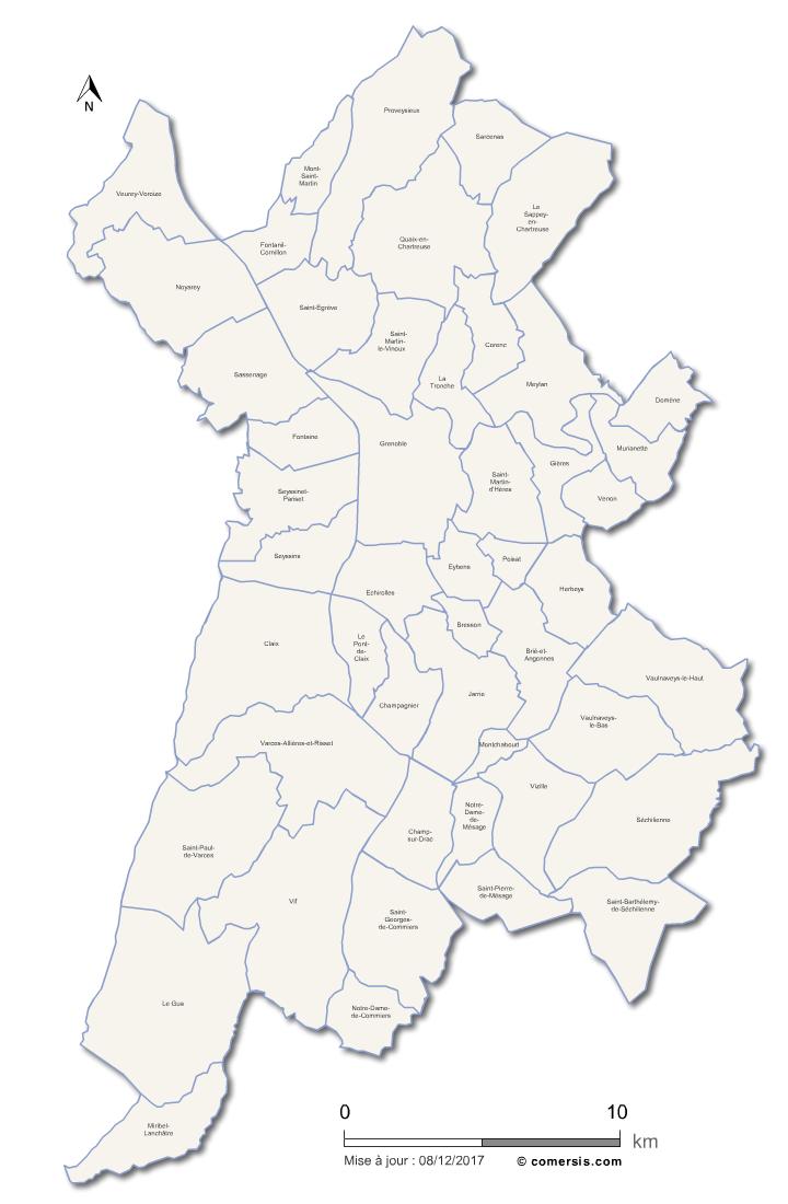 Carte de la métropole de Grenoble