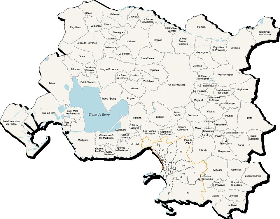 Carte de la métropole Aix-Marseille-Provence
