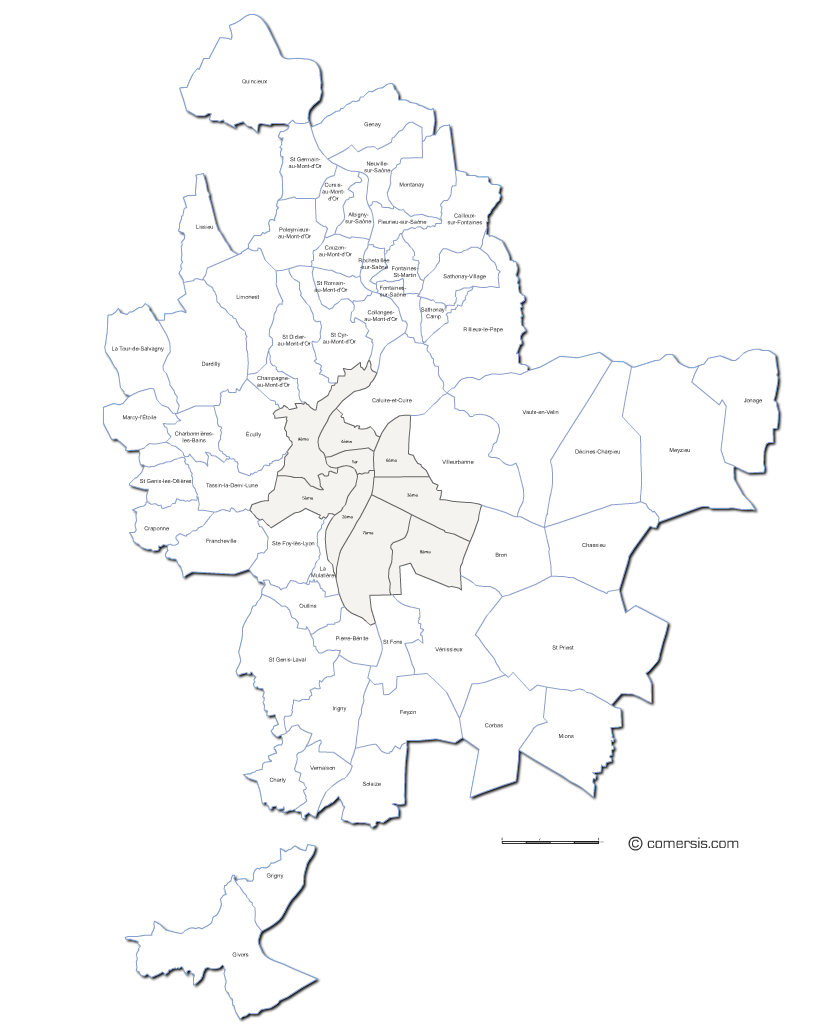 Carte de la métropole de Lyon