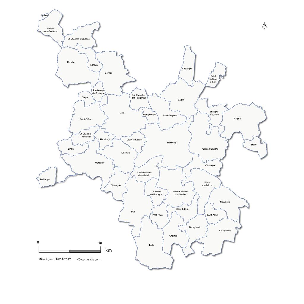 Carte de la métropole de Rennes
