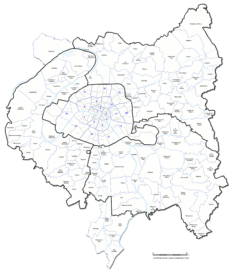 Carte de la métropole du Grand Paris