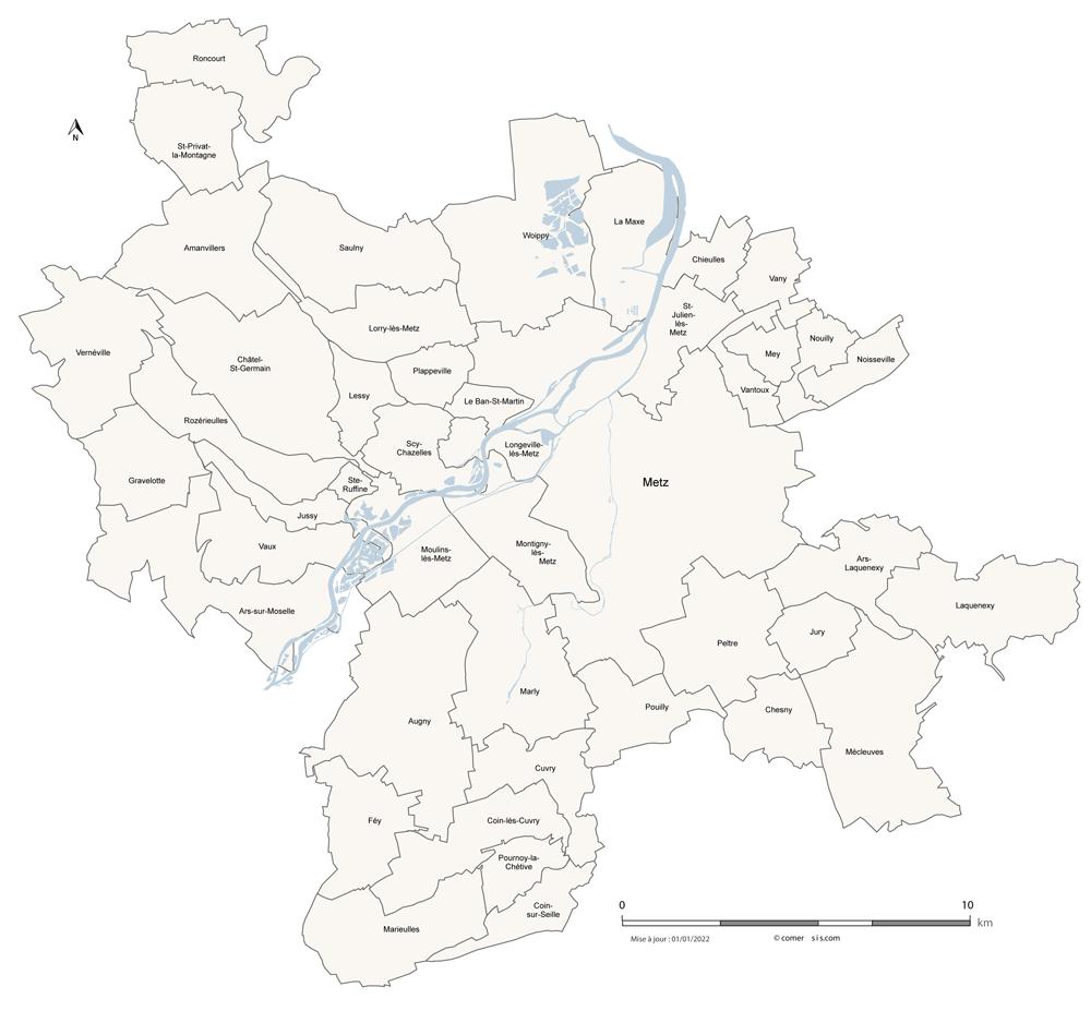 Carte de la Métropole de Metz