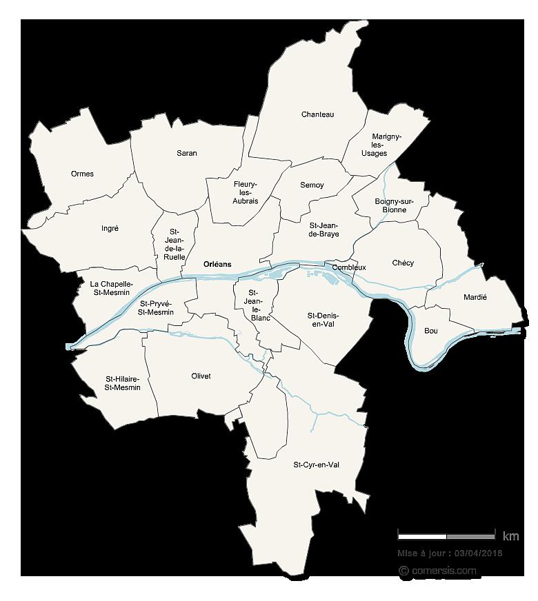 Carte de la Métropole d'Orleans