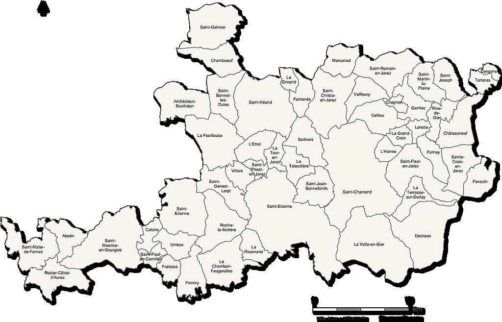 Carte de la Métropole de Saint Etienne