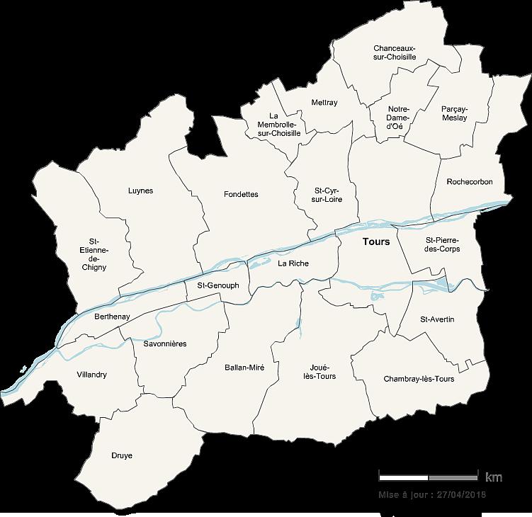 Carte de la Métropole de Tours Val de Loire