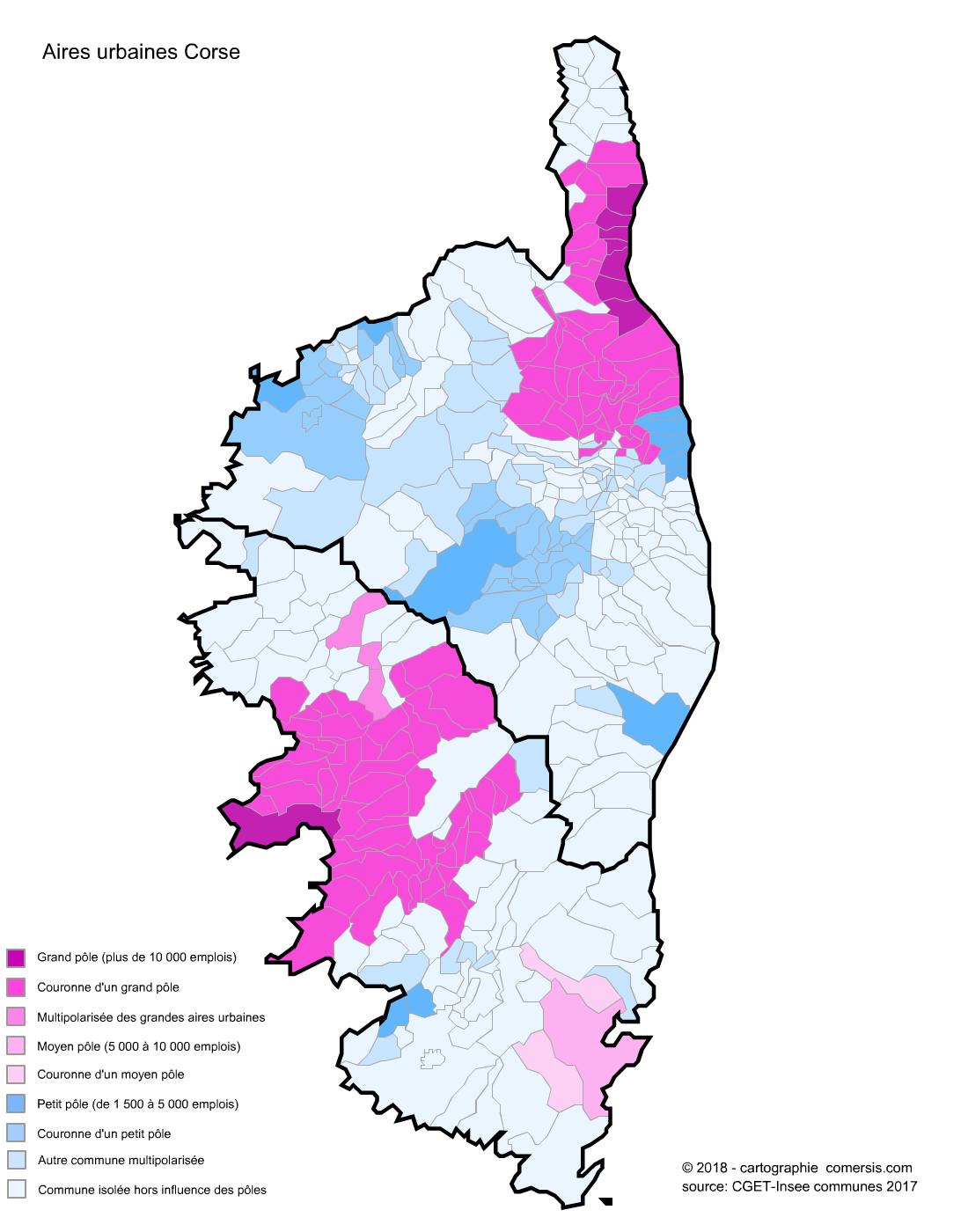 Carte des aires urbaines de Corse