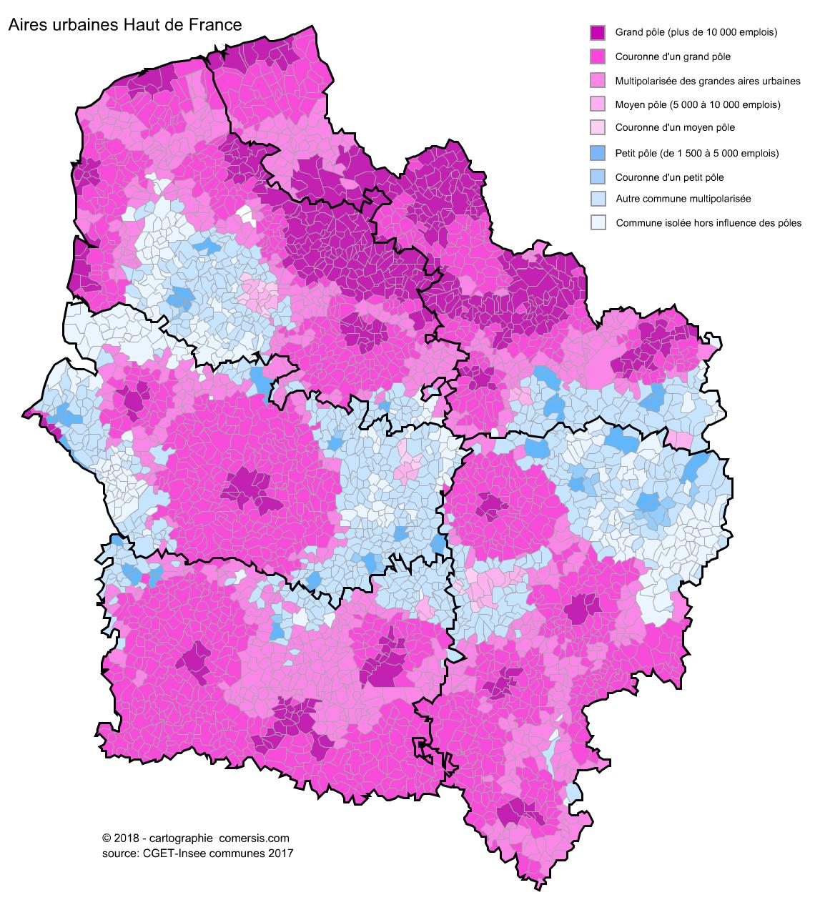 Carte des aires urbaines des Hauts de France