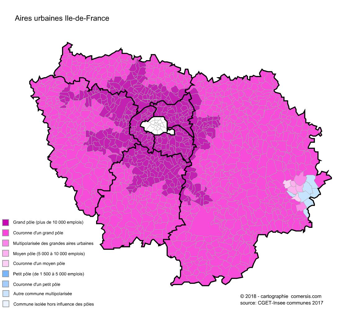 Carte des aires urbaines d'Ile-de-France