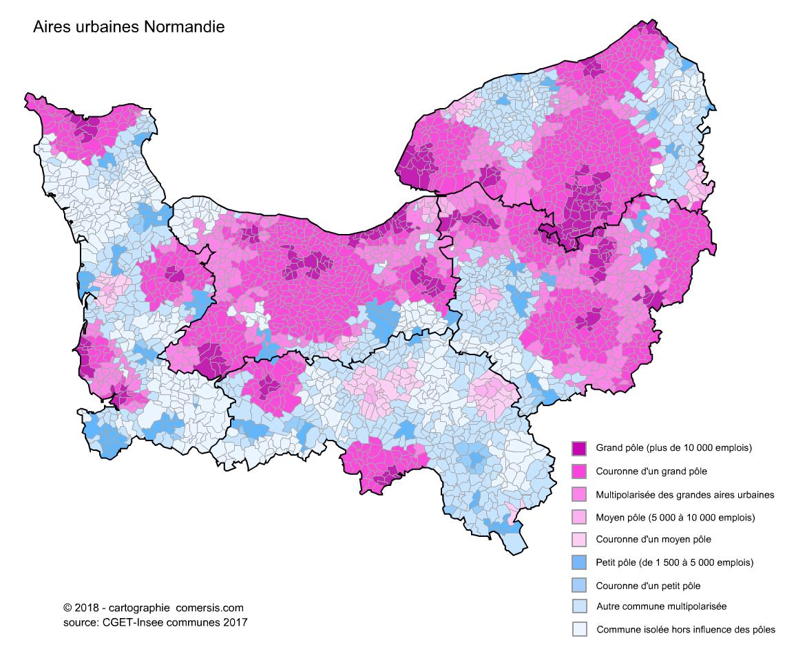 Carte des aires urbaines de Normandie