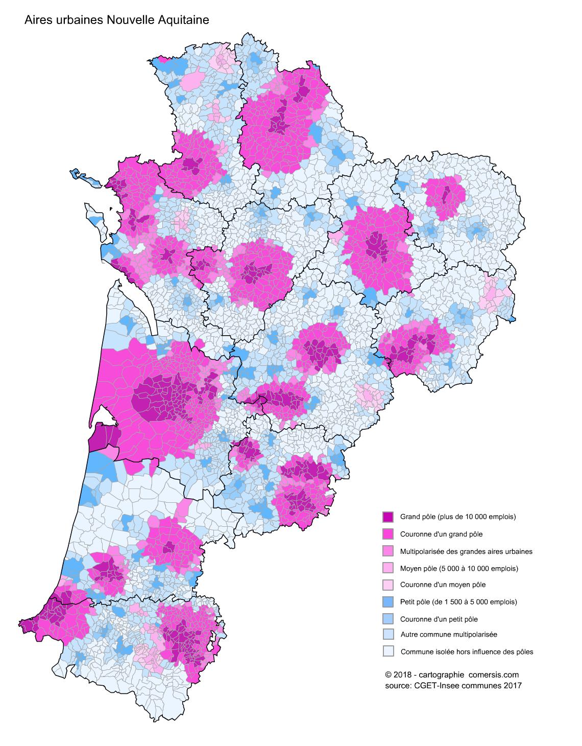 Carte des aires urbaines de Nouvelle Aquitaine
