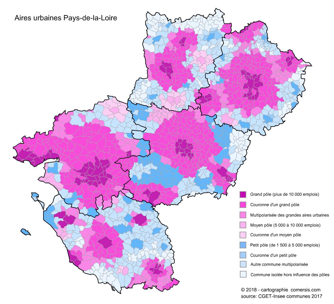 Carte des aires urbaines des Pays-de-la-Loire
