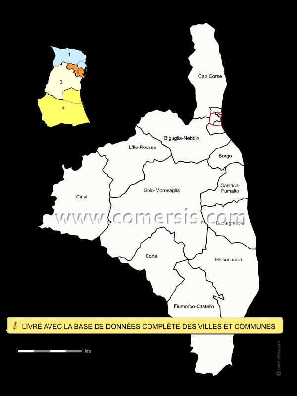 Carte Haute Corse Communes.Carte Des Nouveaux Cantons De La Haute Corse