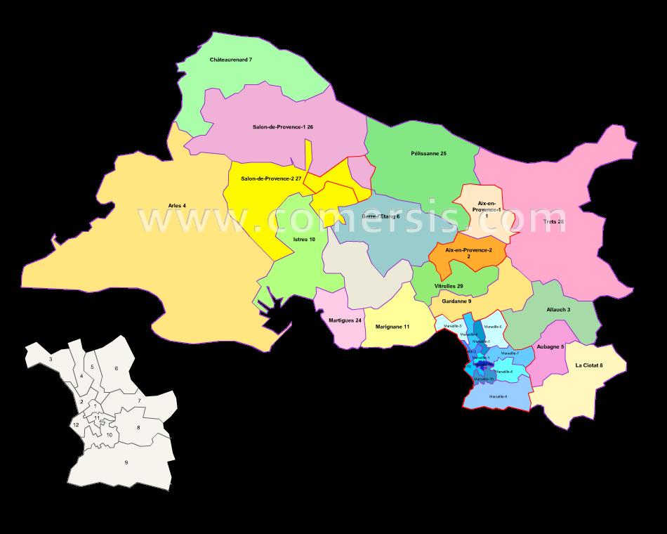 Carte Des Nouveaux Cantons Des Bouches Du Rhône