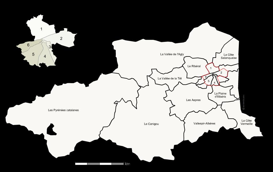Carte des nouveaux cantons des Pyrénées-Orientales