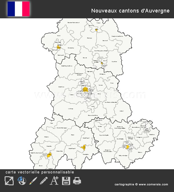 Carte des nouveaux cantons d'Auvergne
