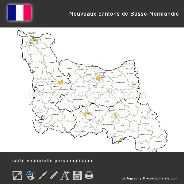 Carte des nouveaux cantons de Basse-Normandie