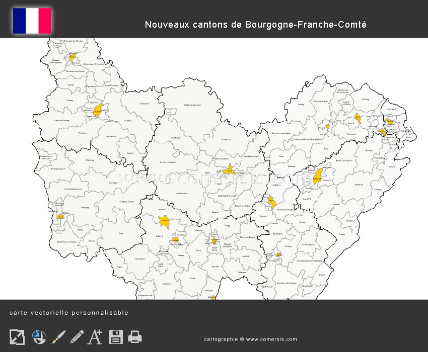 Carte des nouveaux cantons de Bourgogne-Franche-Comté