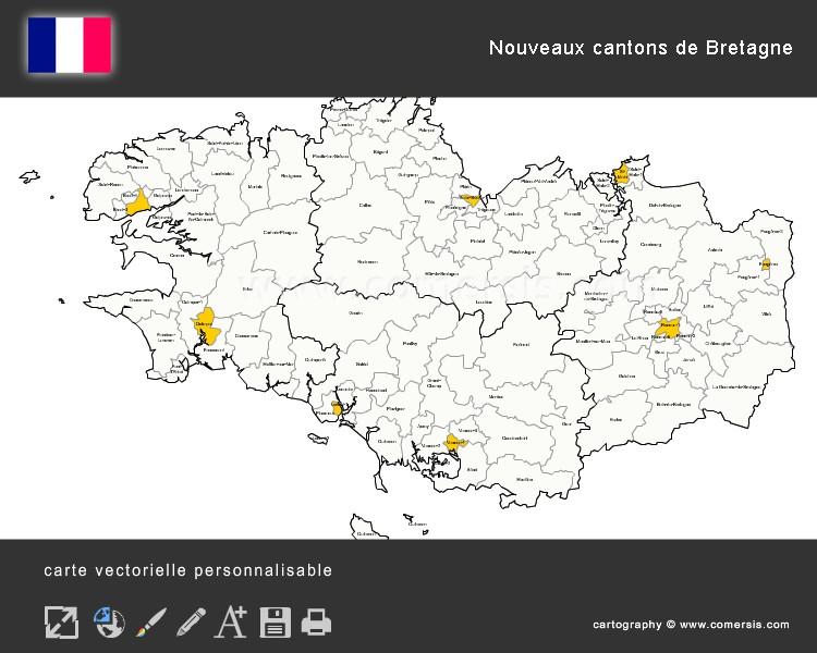 Carte Des Nouveaux Cantons De Bretagne