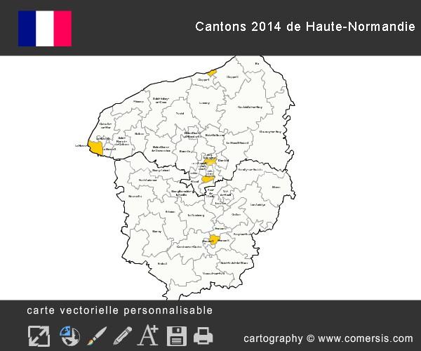 Carte des nouveaux cantons de Haute-Normandie