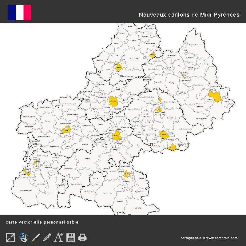 Carte des nouveaux cantons de Midi-Pyrénées