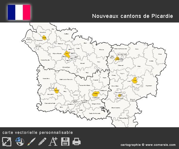 Carte des nouveaux cantons de Picardie