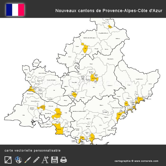 Carte des nouveaux cantons de Provence-Alpes-Côte d'Azur