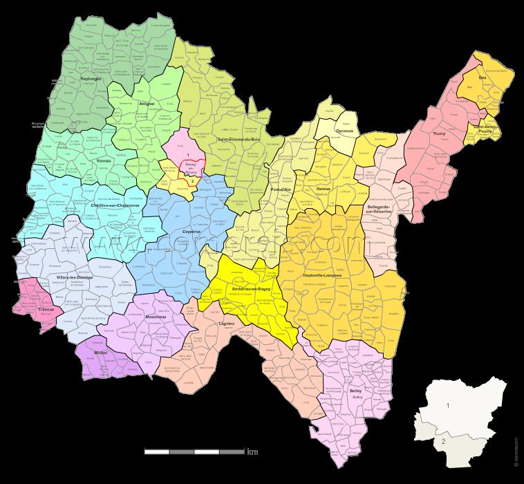 Communes et cantons 2018 de l'Ain