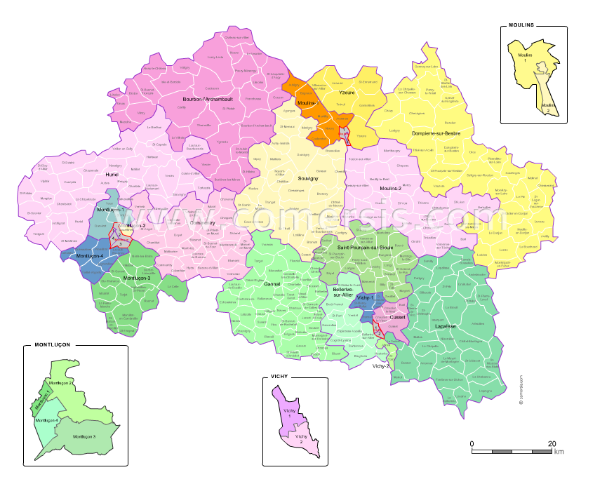 Allier counties map with names ( France ) for Word and Excel.