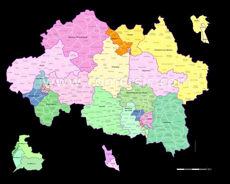 Communes et cantons 2018 de l'Allier