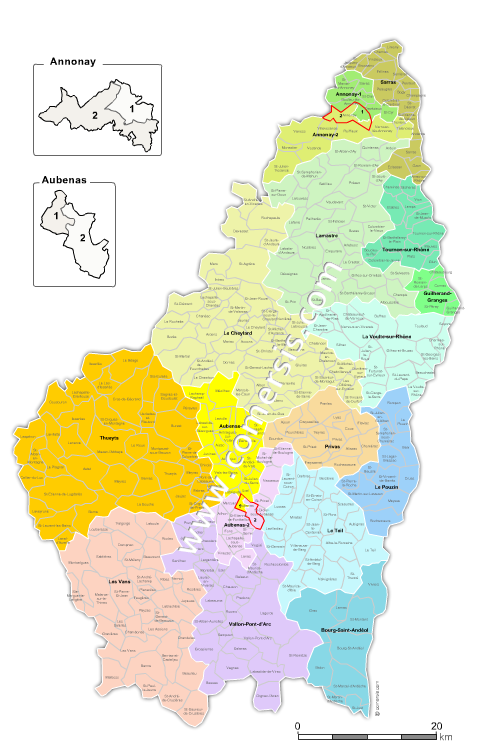 Communes et cantons 2018 de l'Ardèche