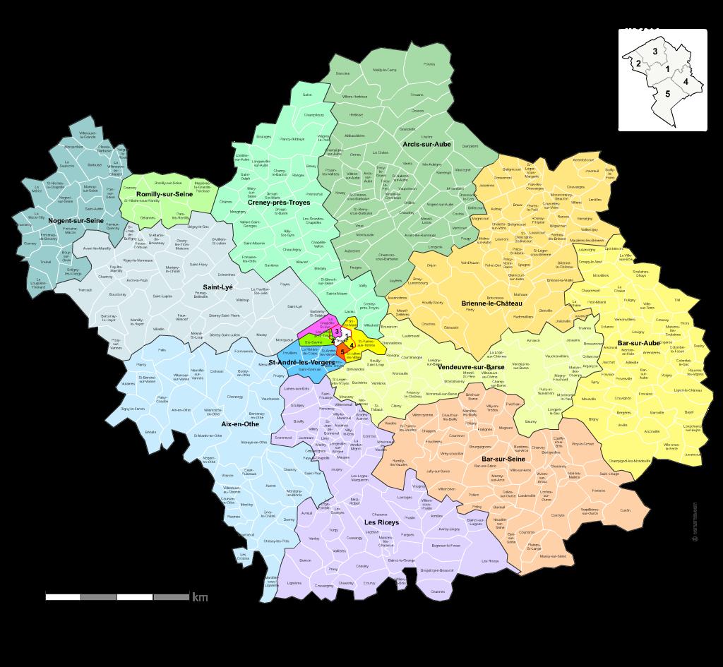 Communes et cantons 2018 de l'Aube