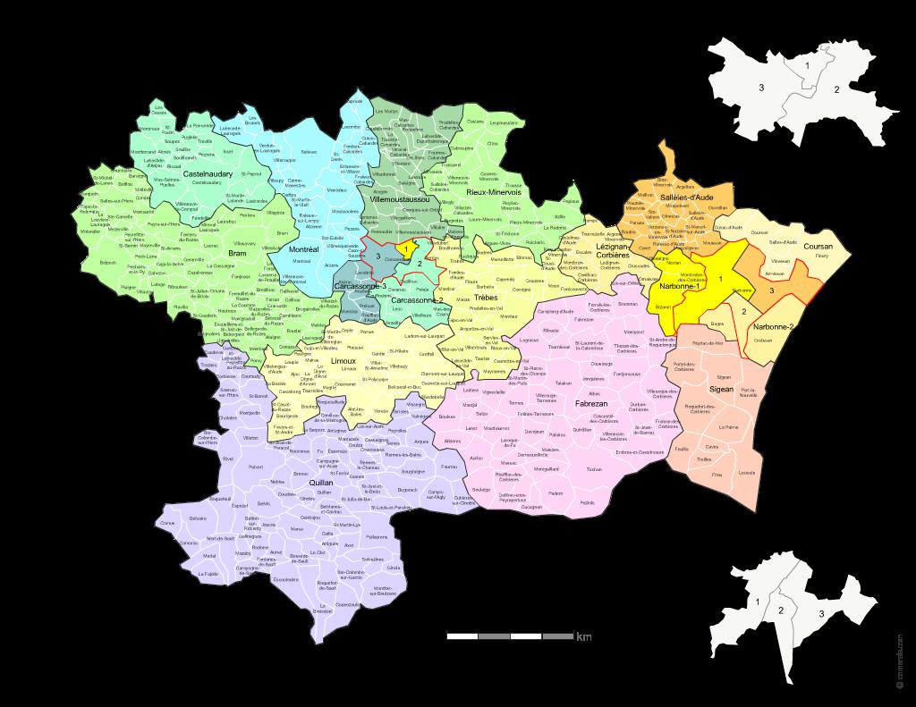 carte de l aude communes Carte des nouveaux cantons de l'Aude avec villes et communes