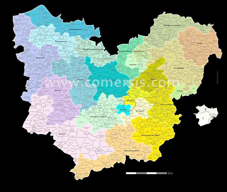carte des communes de l eure Carte des nouveaux cantons de l'Eure avec villes et communes