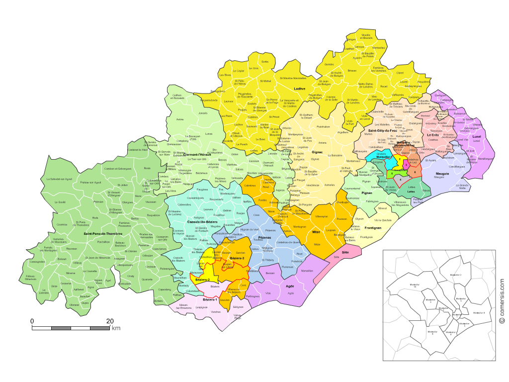Communes et cantons 2018 de l'Hérault