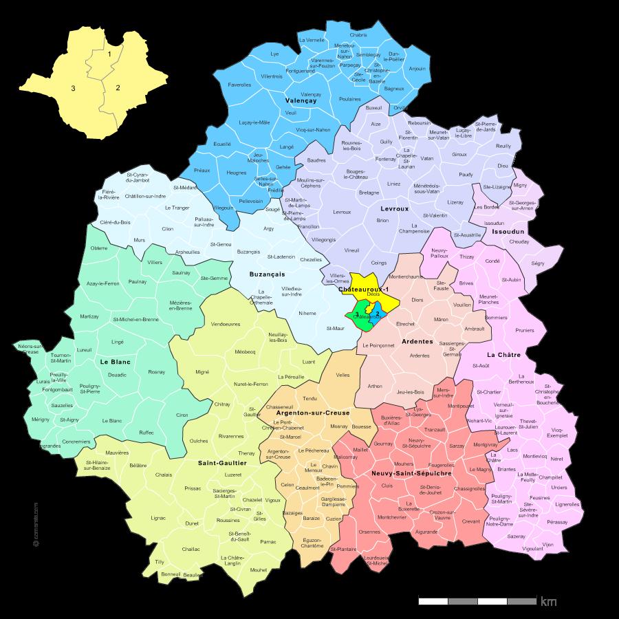 Communes et cantons 2018 de l'Indre