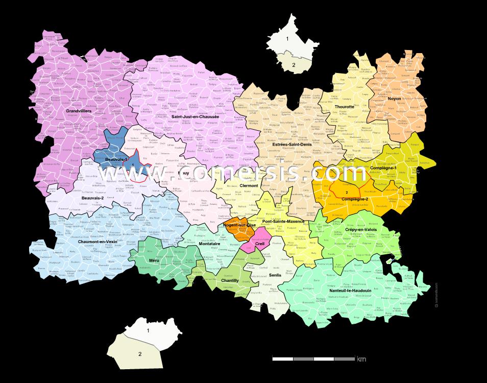 Carte De Loise Avec Ville.Carte Des Nouveaux Cantons De L Oise Avec Villes Et Communes