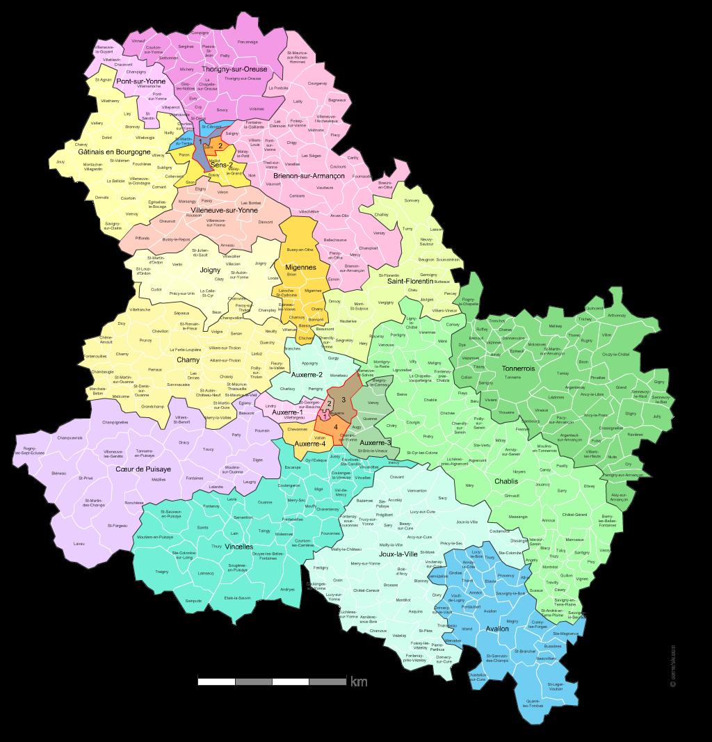 Carte des nouveaux cantons de l 39 yonne avec villes et communes for Region yonne