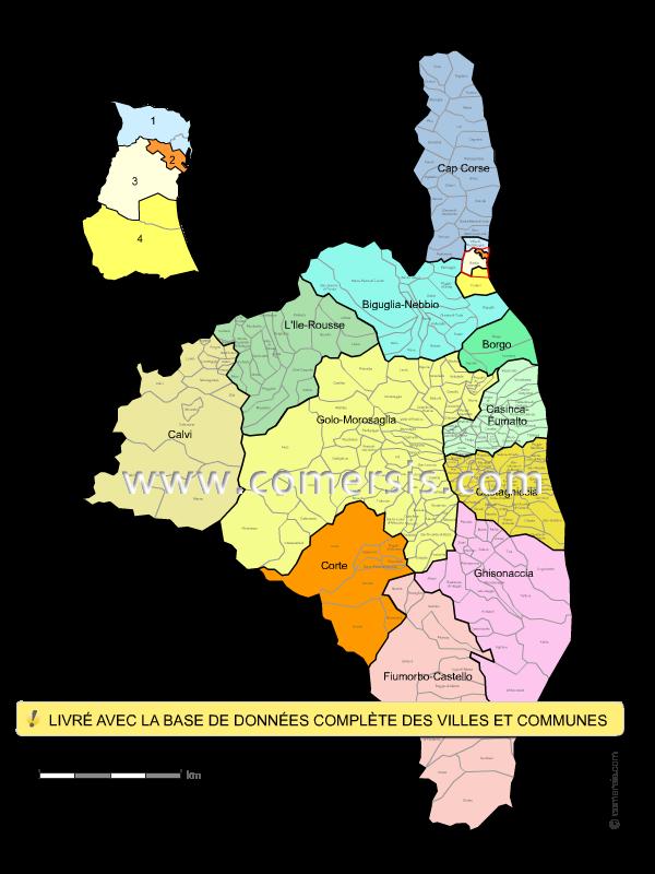 Communes et cantons 2018 de la Haute-Corse
